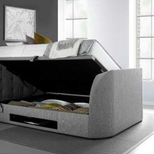Barnard TV Ottoman Bed , open, Artemis Light Grey