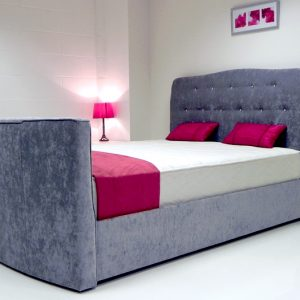 Evelyn TV Bed In Grey Fabric
